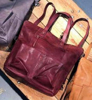 "Leather-""Hastings"" Convertible Tote/Backpack-Cut n' Paste-Blue-Ox-Boutique-Burgundy"