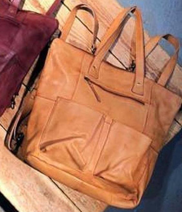 "Leather-""Hastings"" Convertible Tote/Backpack-Cut n' Paste-Blue-Ox-Boutique-Cognac"