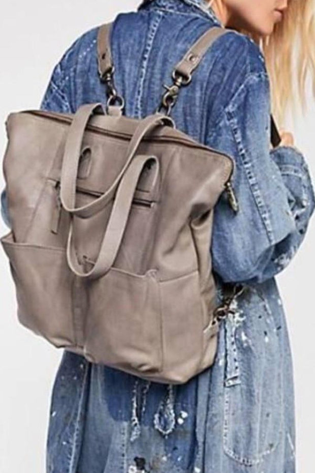 "Leather-""Hastings"" Convertible Tote/Backpack-Cut n' Paste-Blue-Ox-Boutique-Gray"