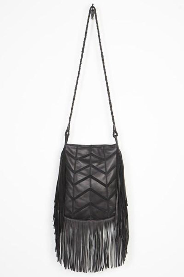 "Leather-""Parker"" Herringbone Fringed Tote-Cut n' Paste-Blue-Ox-Boutique-Black"