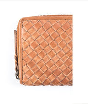 Leather-Sidcup Woven Zip Around Wallet-Rock Paper Scissors-Blue-Ox-Boutique-