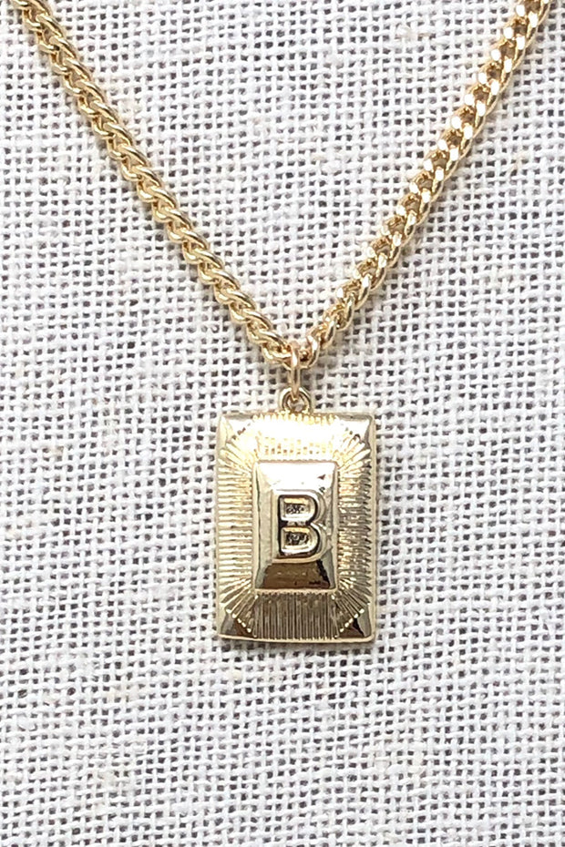Gold Necklace with Rectangle Initial - A