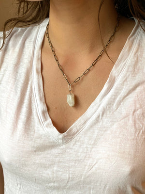Stone Paper Clip Chain Necklace