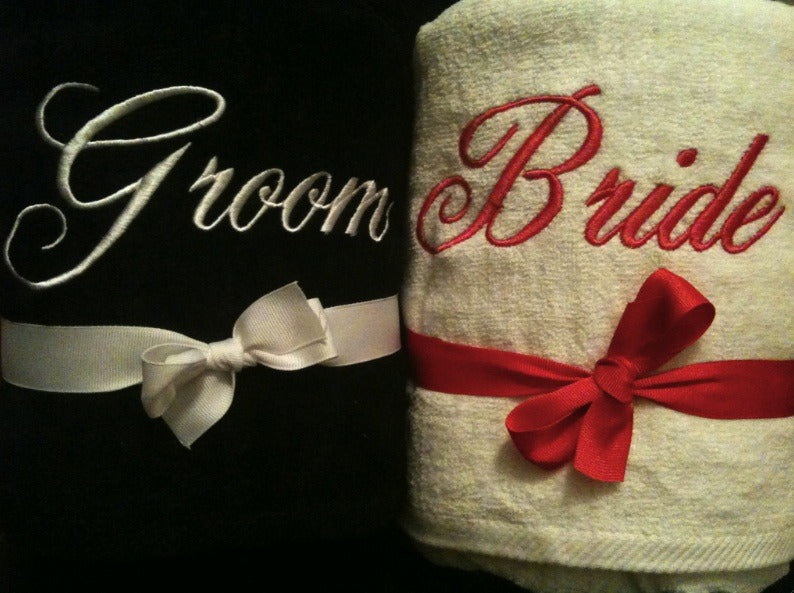Black and White Bride and Groom Beach Towel Set