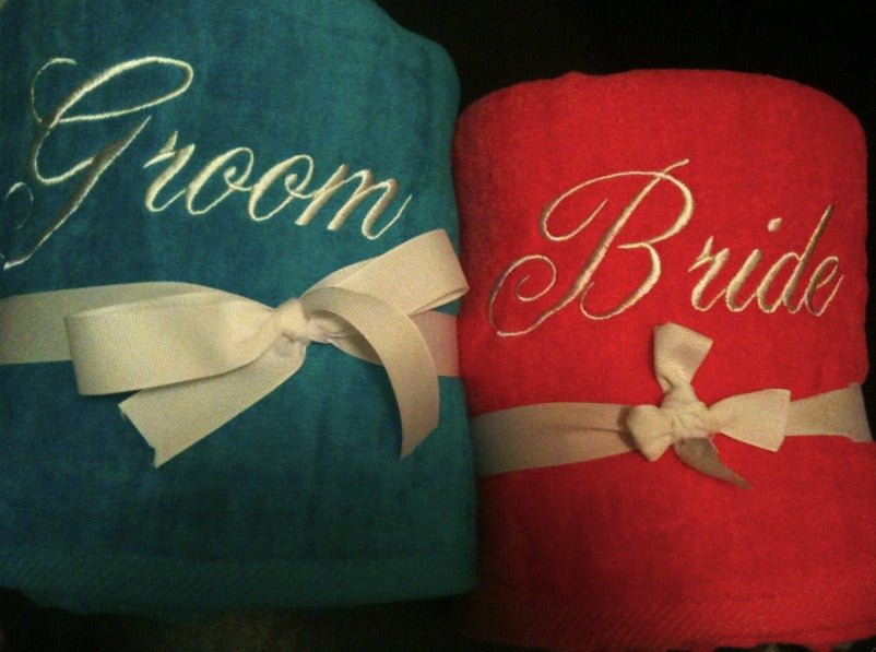 Blue and Pink Bride and Groom Beach Towel Set
