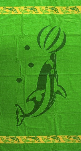Thick Oversized Green Dolphin Beach Towel
