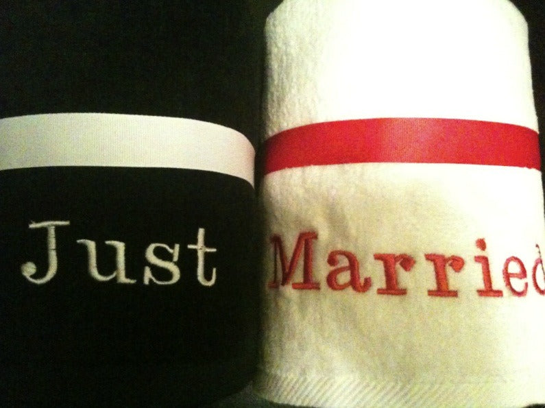 Black and White Just Married Beach Towel Set