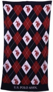 Navy Blue and Red Argyle Beach Towel