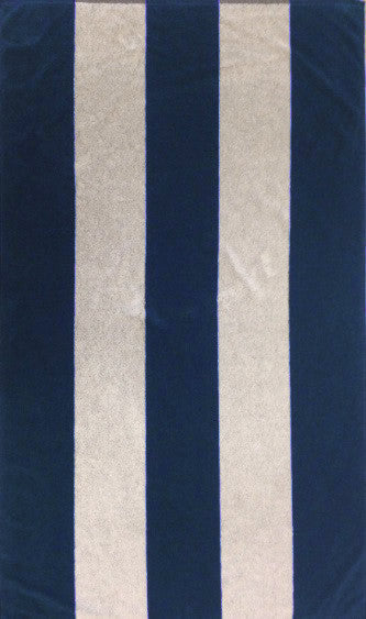 Navy and White Rugby Beach Towel