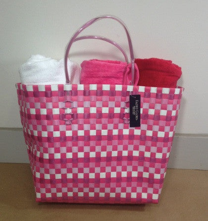 Pink and White Woven Beach Bag