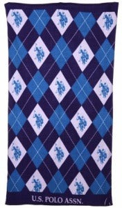 Purple and Blue Argyle Beach Towel