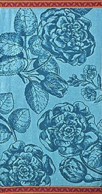 Teal Rose Beach Towel