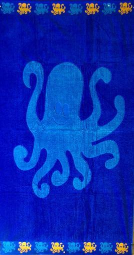 Thick Oversized Blue Octopus Beach Towel