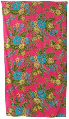 Pink Beach Towel with Flowers