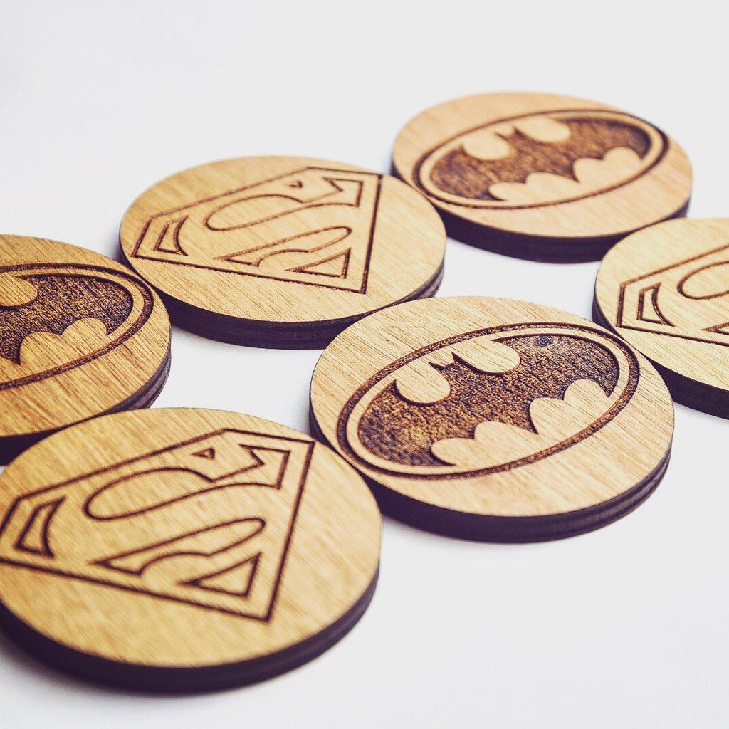 Batman vs Superman Inspired Set of 6 Coasters - HomeCreationss