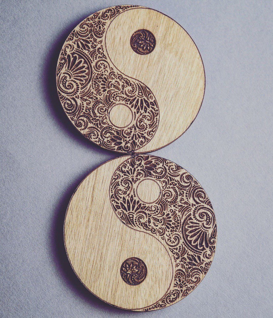 Yin Yang Wooden Coasters Set of 6 - HomeCreationss