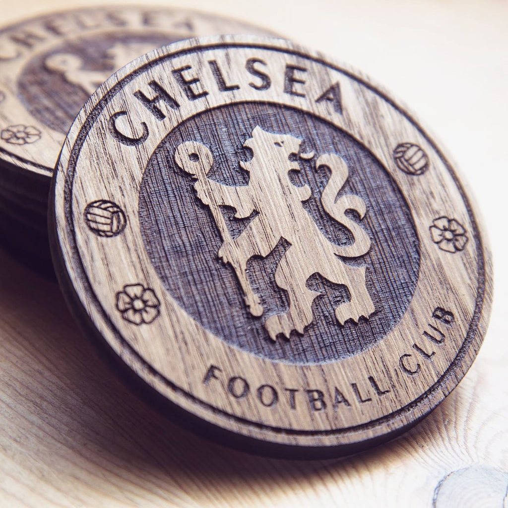 Chelsea F.C. Inspired Wooden Coaster - HomeCreationss