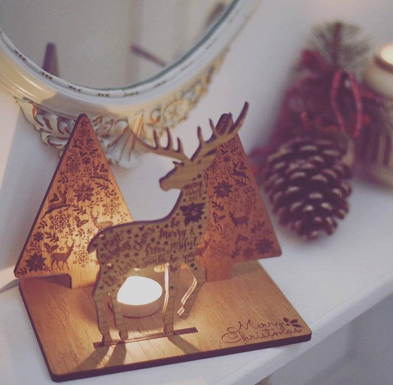 Reindeer & Christmas Tree Candle Holder | Unique and Thoughtful Christmas Gift | Secret Santa Gift Idea | Christmas Decoration For The Home