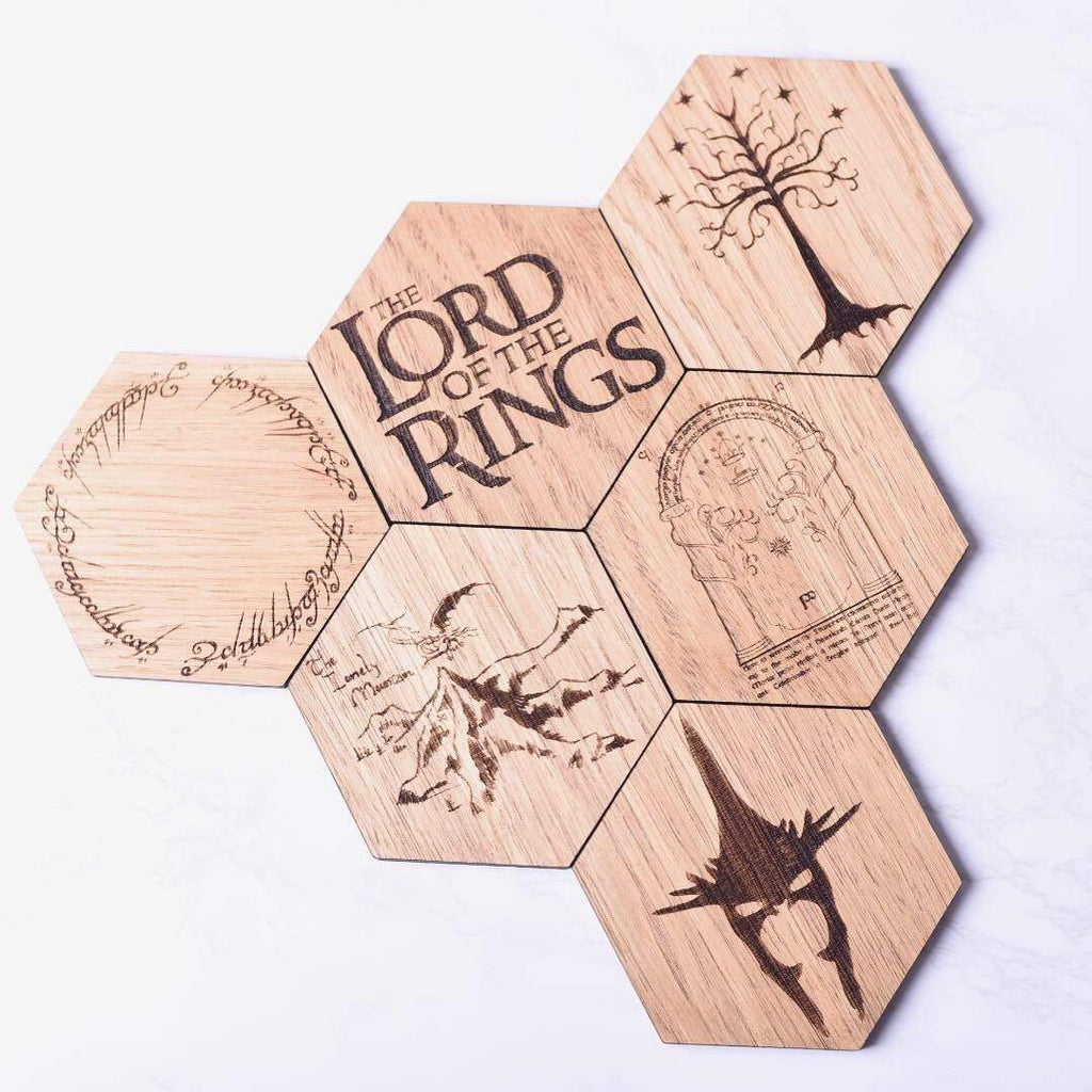 Lord Of The Rings Inspired Hexagonal Coasters - Fathers Day gift ideas, Fathers Day gift, Lord of the rings fan, coaster gift set