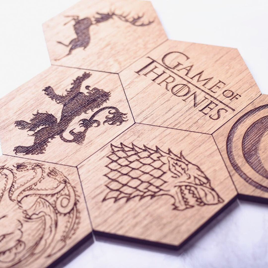 Game Of Thrones Inspired Hexagonal Coasters Set of 6 - HomeCreationss