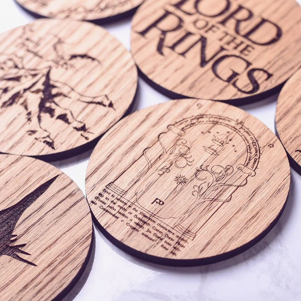 Lord Of The Rings Inspired Coasters - Fathers Day gift ideas, Fathers Day gift, Lord of the rings fan, coaster gift set - Maison Creations