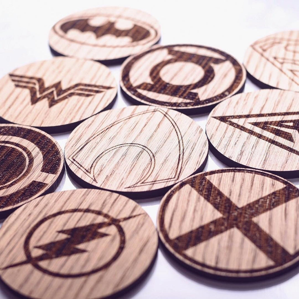 Set of 9 Justice League Inspired Wooden Coasters - HomeCreationss