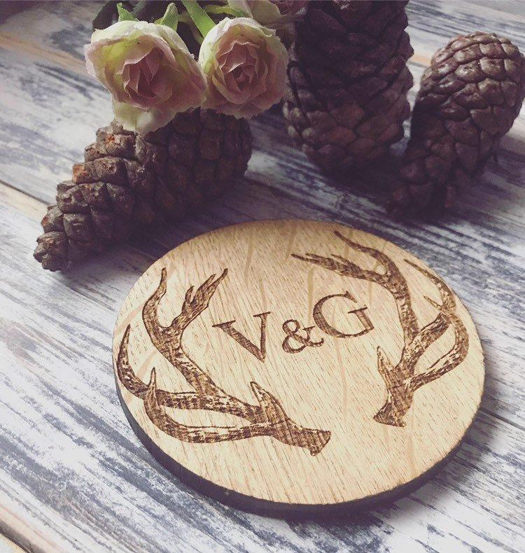 Personalised Stag Initial Coaster-Maison Creations