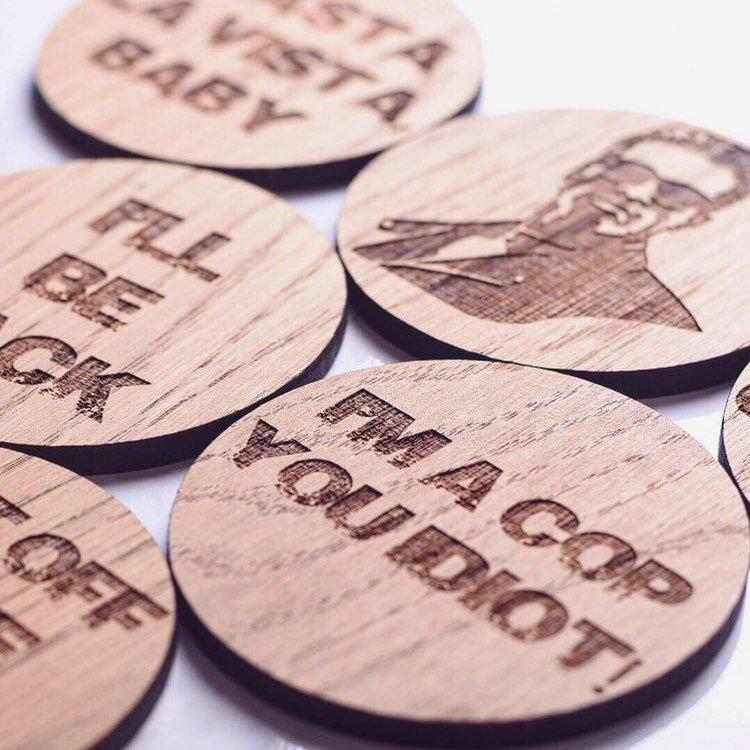 Arnold Schwarzenegger Inspired Wooden Coasters - HomeCreationss