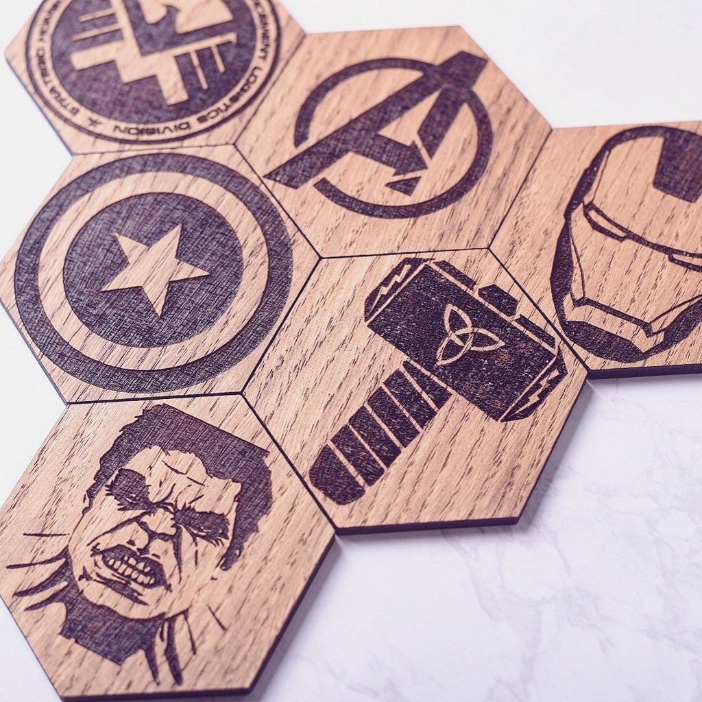 Avengers Inspired Hexagonal Coasters - Fathers Day Gift Ideas | Fathers Day | Marvel Comic Gift | Avengers Fan Gift | Marvel gift