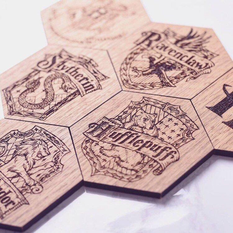 Harry Potter Inspired Hexagonal Coasters Set of 6 - HomeCreationss