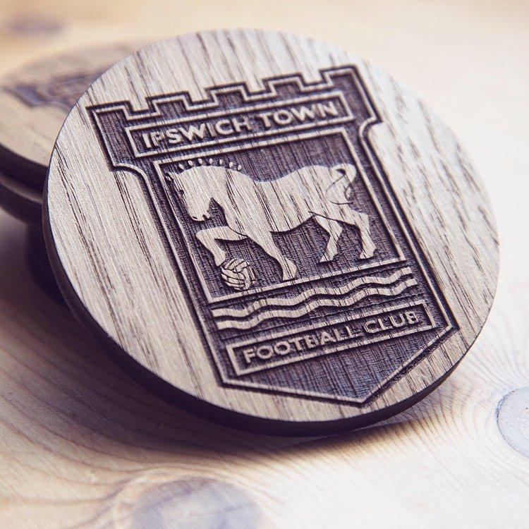 Ipswich Town F.C. Inspired Wooden Coaster - HomeCreationss
