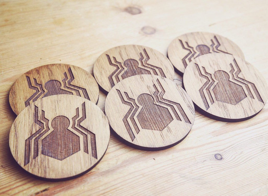 Spider Man Homecoming Inspired Wooden Coasters - HomeCreationss