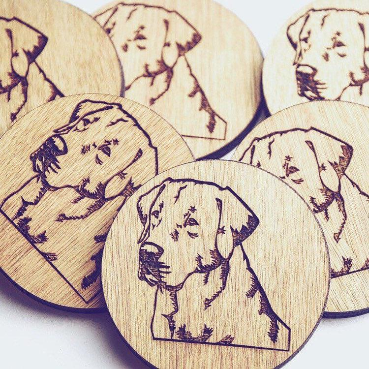 Labrador Wooden Coasters set of 6 - HomeCreationss
