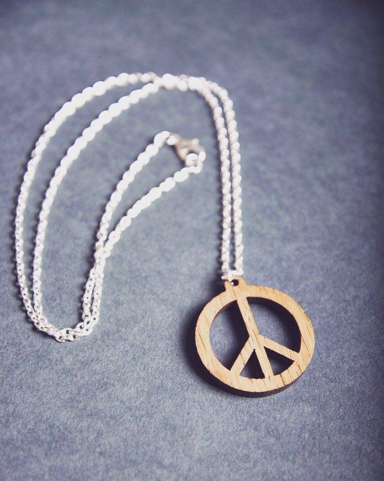 Peace Oak & Silver Necklace - HomeCreationss