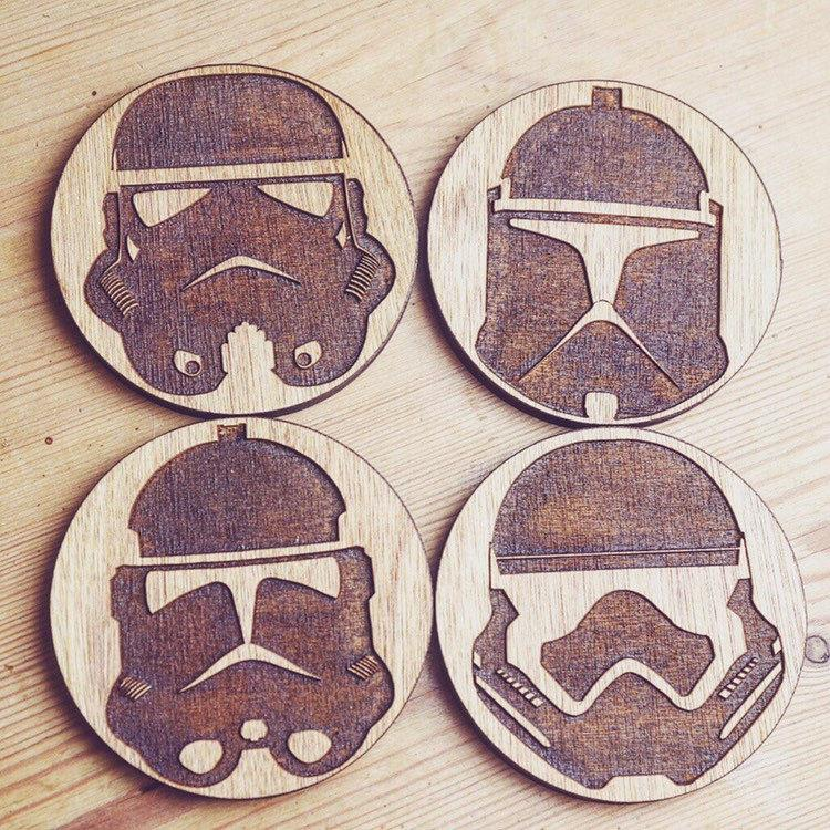 Storm Trooper Inspired Wooden Coasters - HomeCreationss