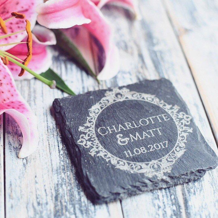 Personalised Slate Wedding Favour Coasters - HomeCreationss