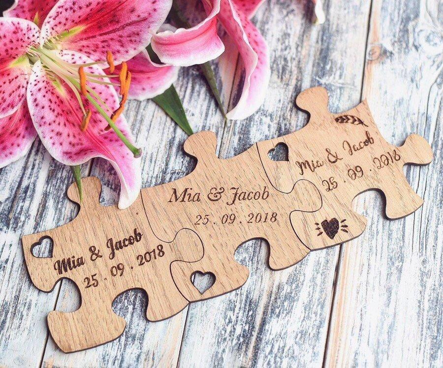 Personalised Puzzle Piece Wedding Favour Coasters - HomeCreationss