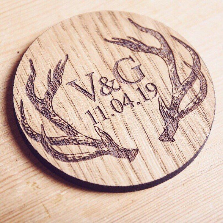 Personalised Stag Initial Coaster - HomeCreationss