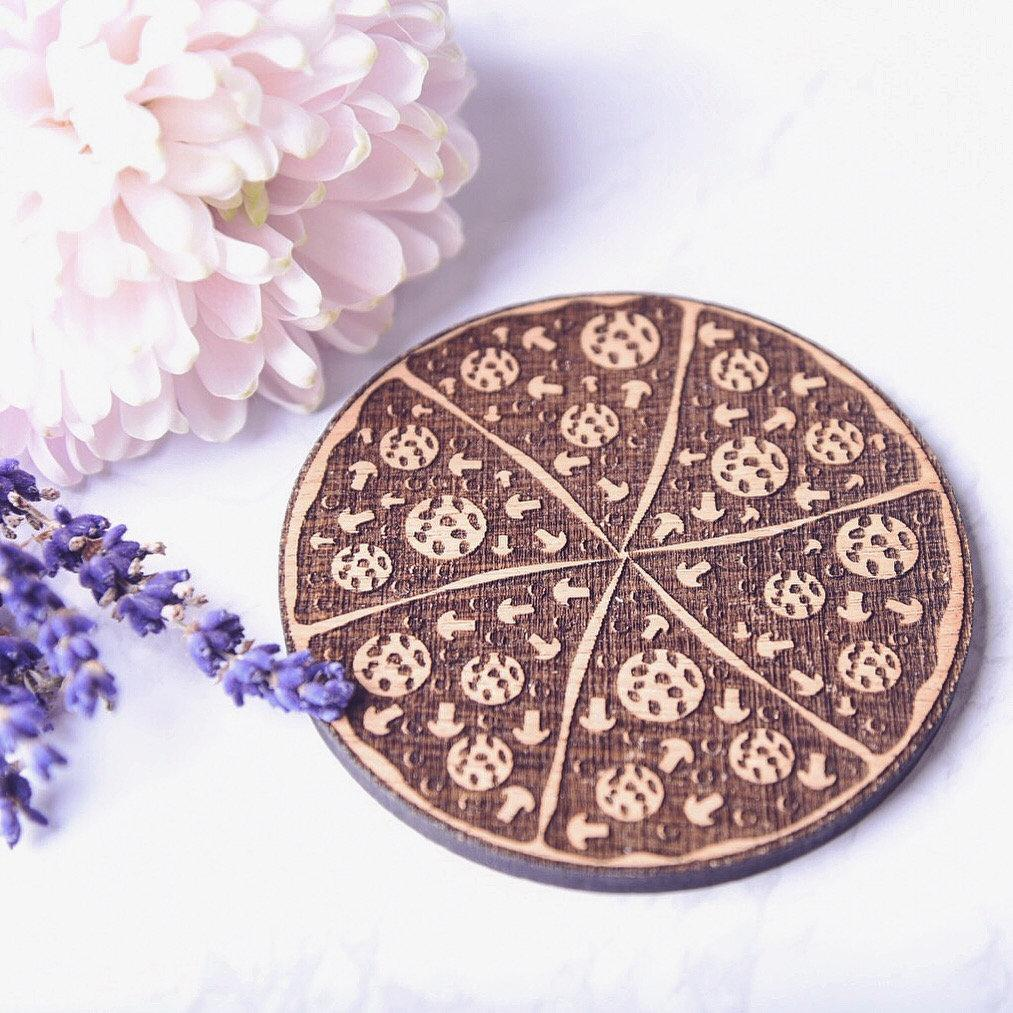Pizza Themed Wooden Coaster - HomeCreationss