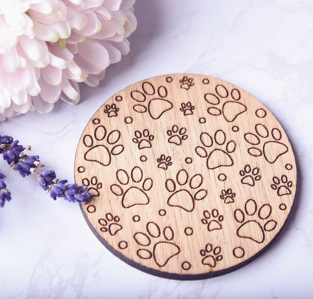 Paw Print Wooden Coaster - HomeCreationss