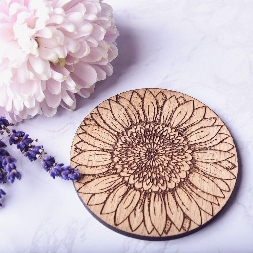 Sunflower Wooden Coaster - HomeCreationss