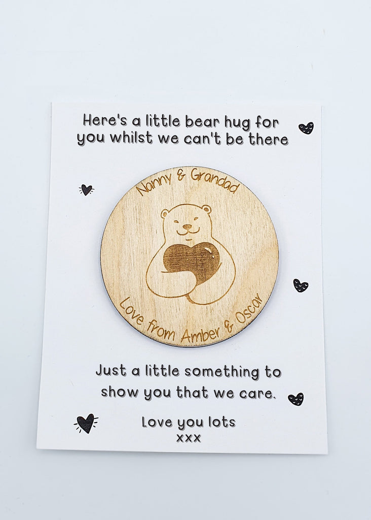 Bear Hug Fridge Magnet Isolation Gift | Gift for Nanny & Grandad | Thoughtful Unique Hug Magnet | Miss You Gift | Little Wooden Hug