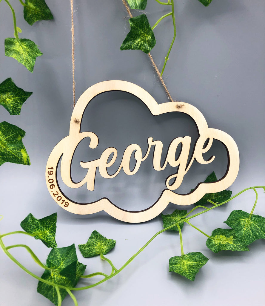 Personalised Hanging Name Sign | Nursery Gift | Nursery Decor | Newborn Baby Gift | Babies 1st Birthday | Baby Boy Gift | Baby Girl Gift |