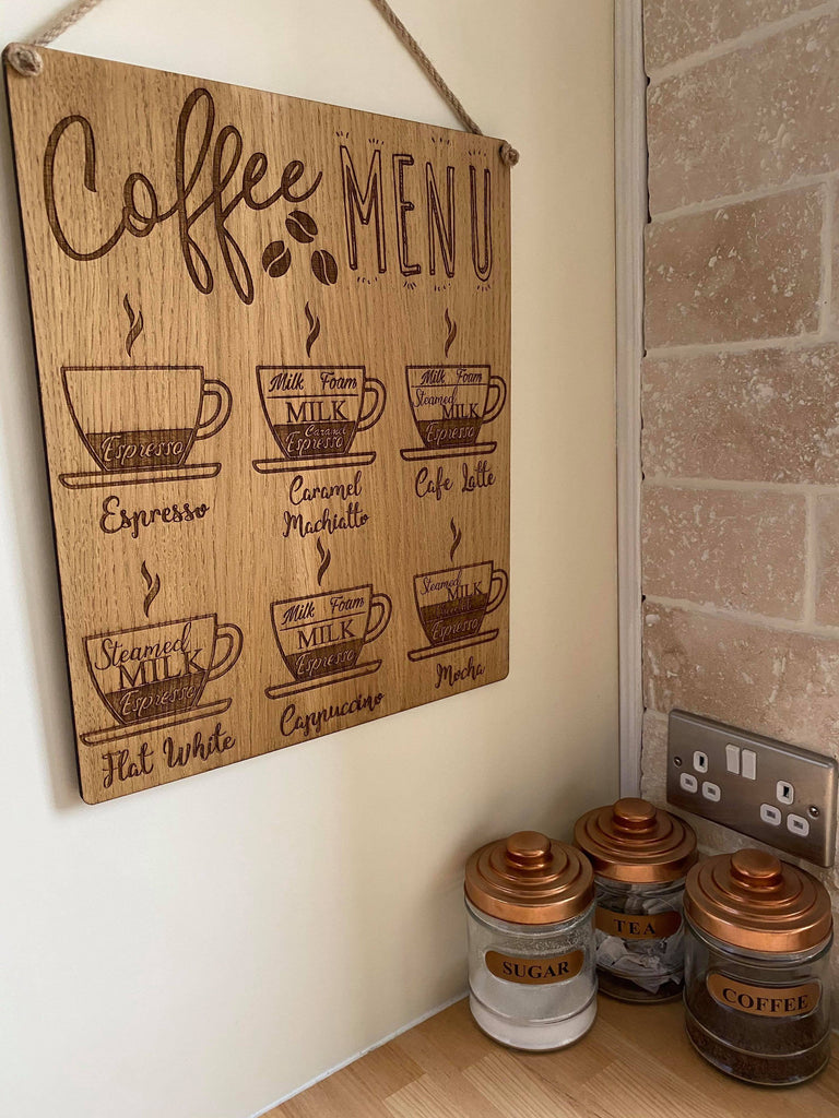 Coffee Lover Hanging Sign | Gift For A Coffee Lover | Coffee Addict | Kitchen Decor | Home Decor | Coffee Menu Sign | House Warming Gift
