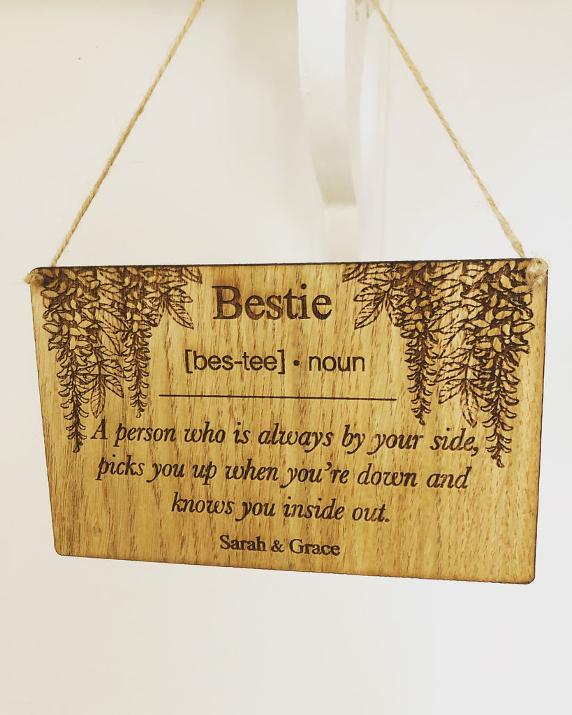 Bestie Sign | Bestie Gift | Best Friend Gift Idea | Definition Of Bestie | Thoughtful Gift For A Friend |  Best Friend Hanging Sign