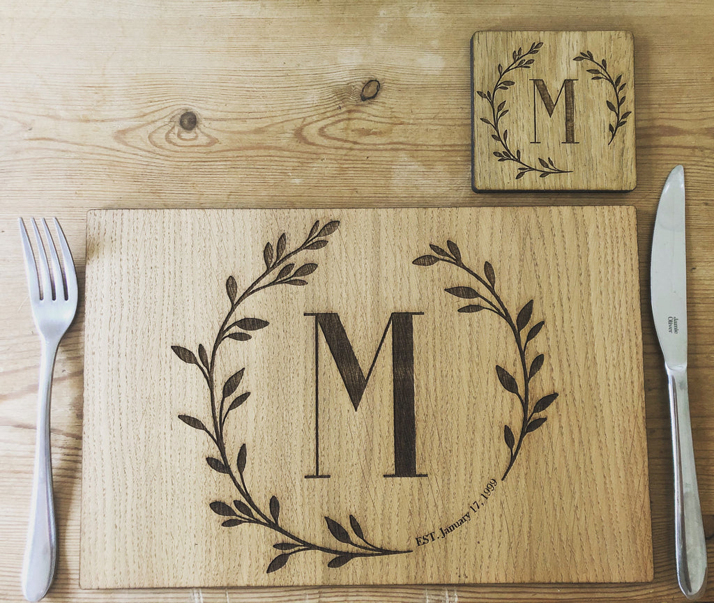 Personalised Luxury Oak Placemat & Coaster Set | Personalised Initial Placemats | Alphabet Placemats | Birthday Gift | House Warming Gift |
