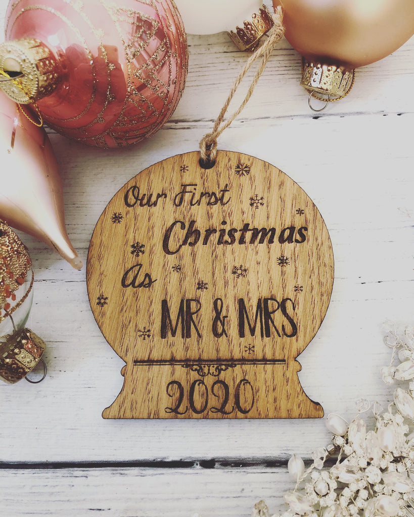 First Christmas As Mr & Mrs Tree Decoration | Mr and Mrs Christmas Gift | Couples Christmas Gift | Bride | Groom | Wedding | Mr Mrs Bauble