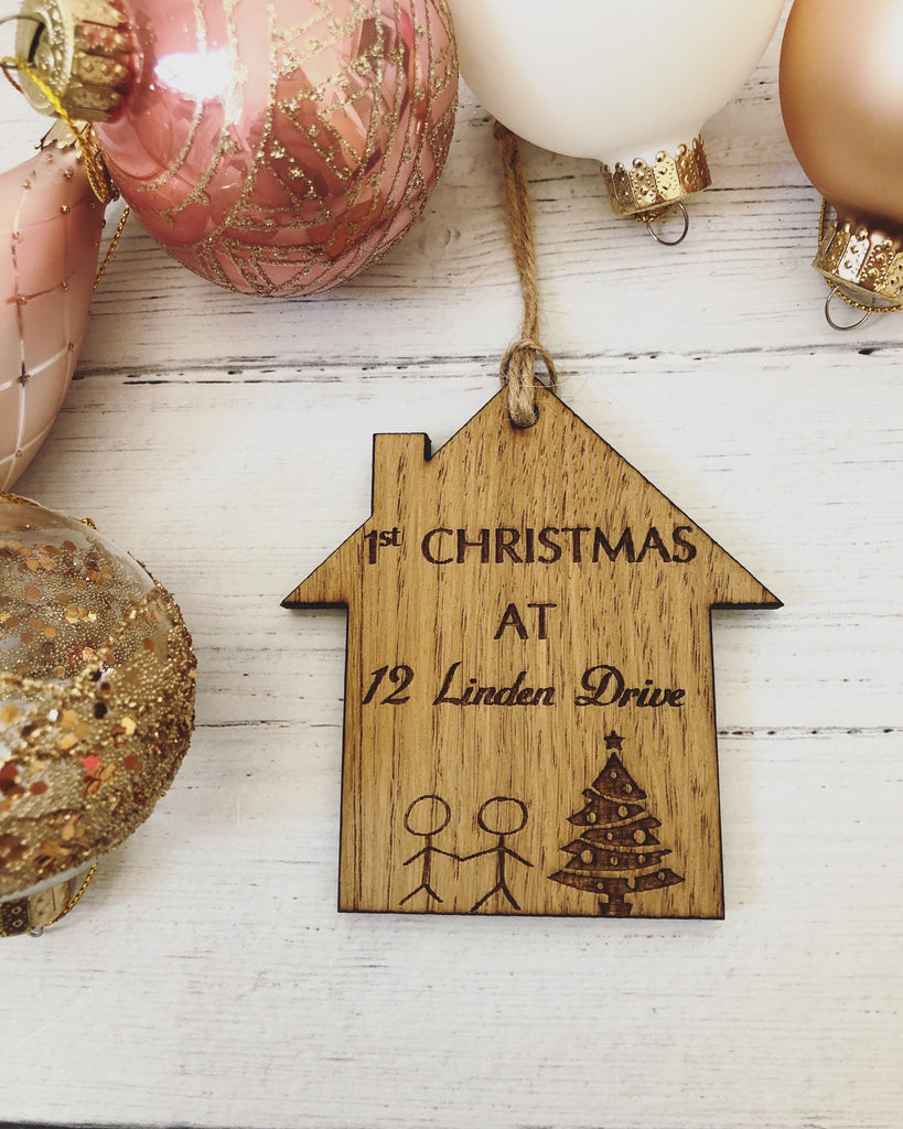 Personalised Wooden Bauble | 1st Christmas At | New Home | New Address | Cute Bauble | Christmas Tree Decoration | Personalised Christmas