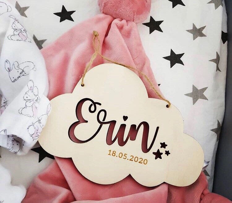 Personalised Baby Name Hanging Sign | Nursery Gift | Cloud Name Sign | Baby Girl Gift | Baby Boy Gift | Baby Shower Gift | Nursery Decor