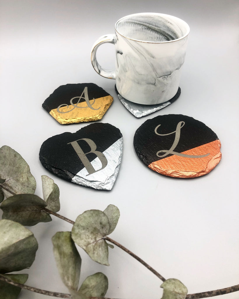 Personalised Slate Coasters | Letter Coasters | Hand Painted Metallic Slate | Copper | Silver-Maison Creations